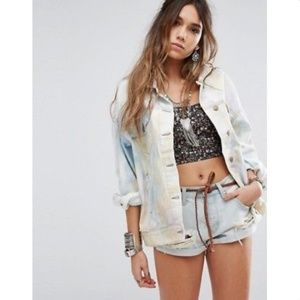 NWT Free People Tie Dye Denim TRUCKER JACKET XS/S